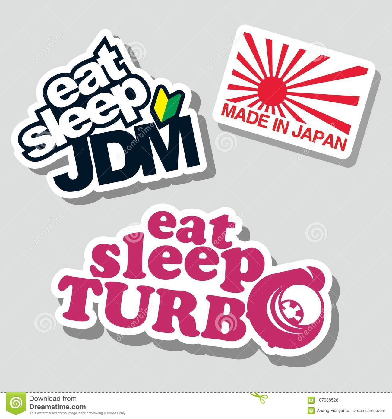 Japanese funny sentences set for car stickers