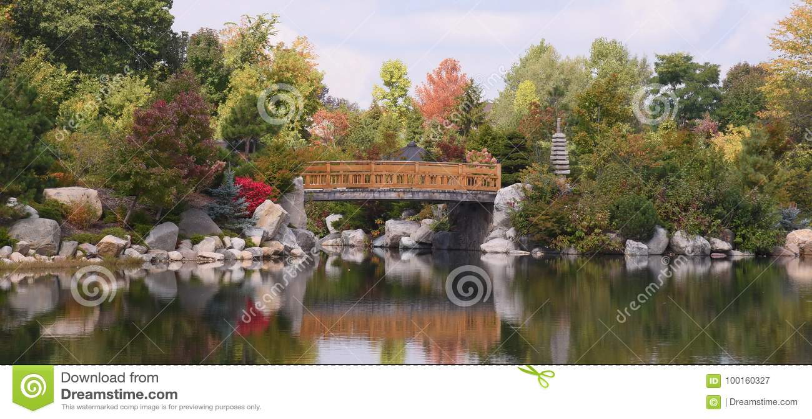 Japanese Garden in America stock image. Image of flowers - 100160327