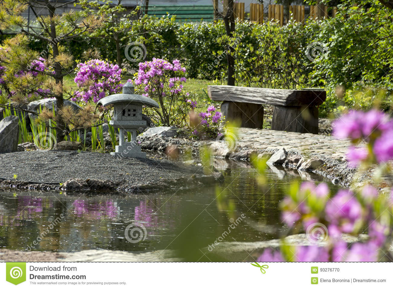 Japanese Garden Bench Of Wood, A Pond, A Bush With Pink Flowers, Stock