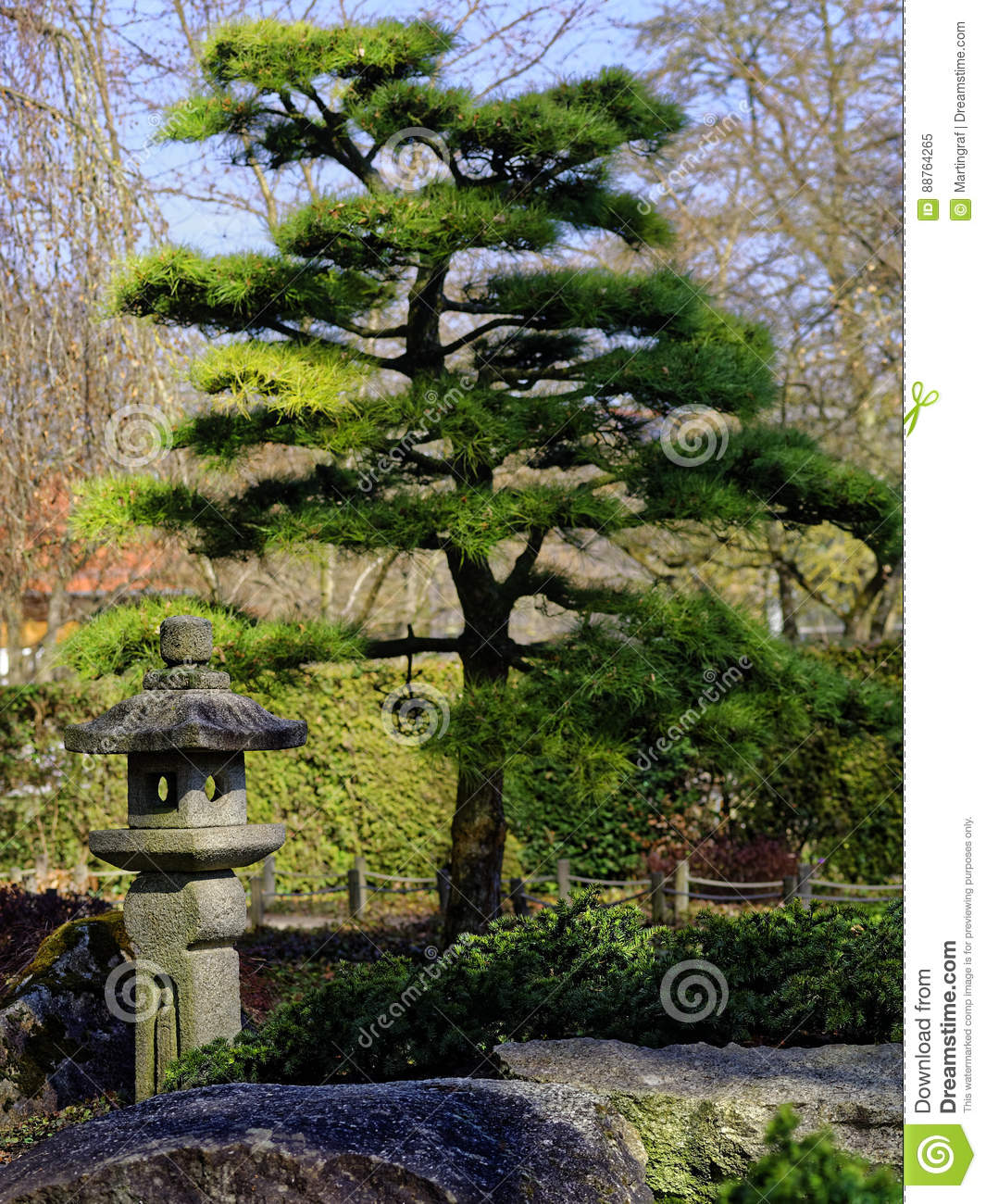 Japanese Garden Landscaping Detail Stock Image Image Of
