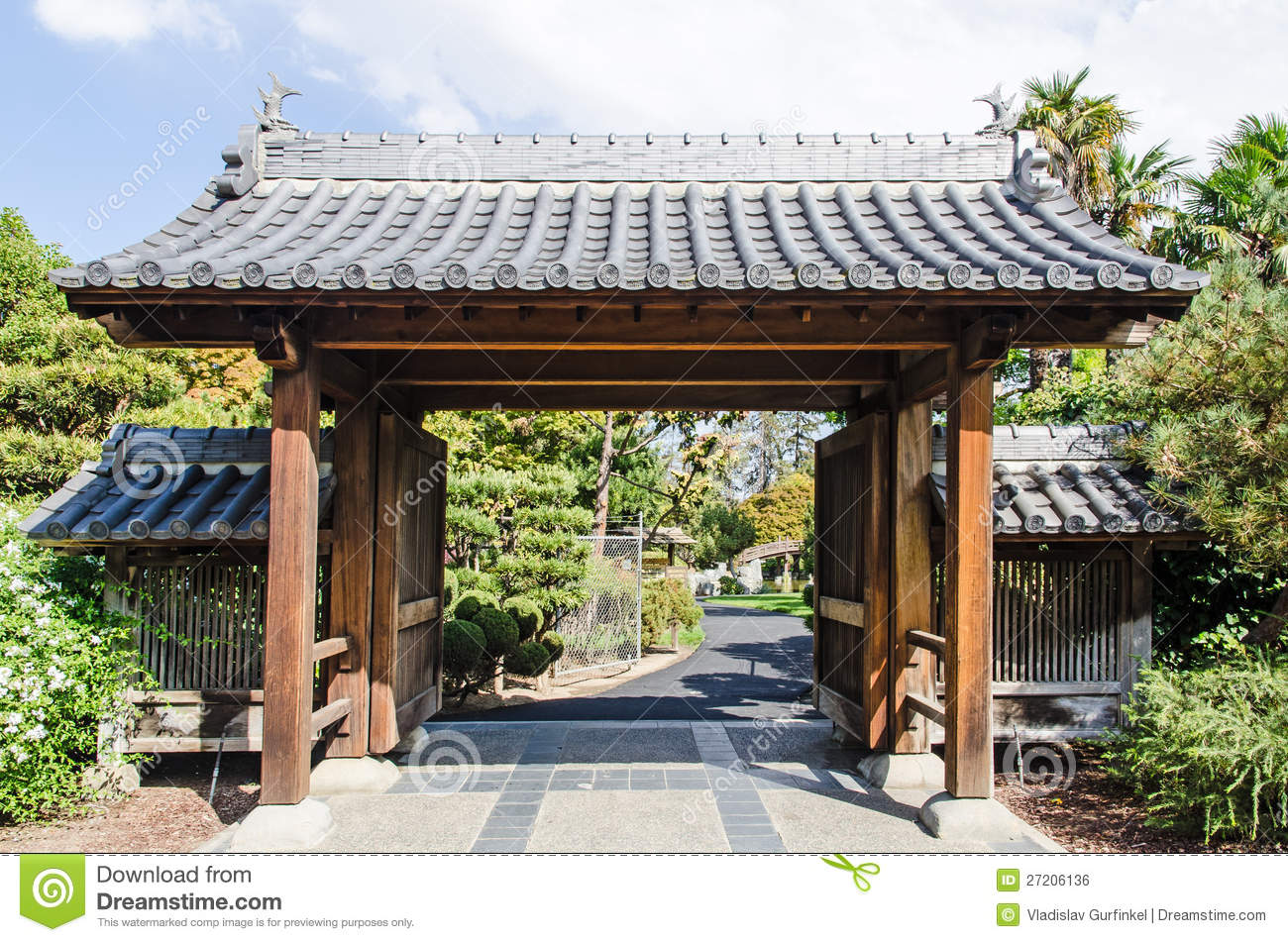 Japanese garden entrance gate royalty free stock image for Japanese garden entrance