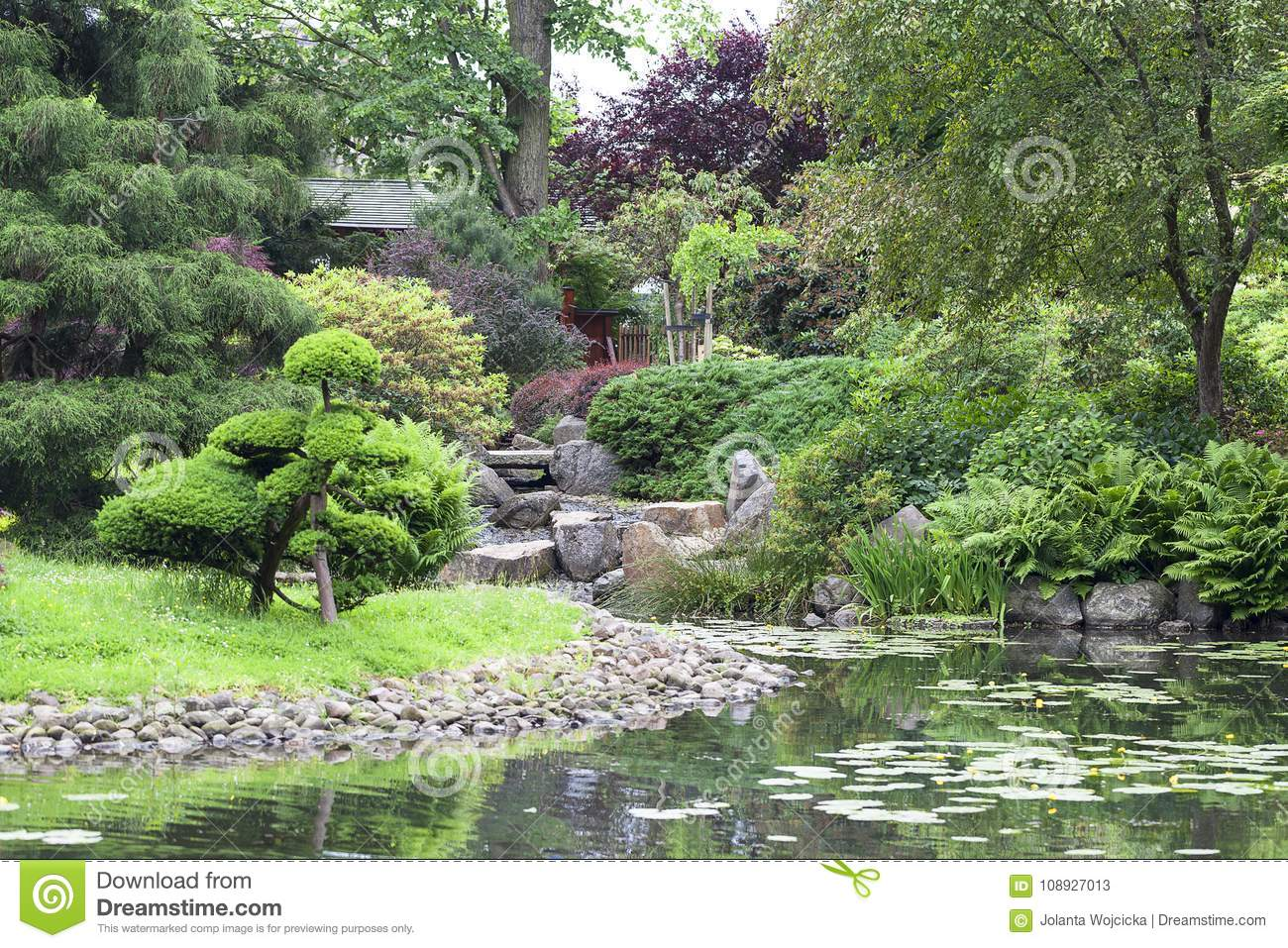 Japanese Garden, Exotic Plants, Wroclaw, Poland. The Japanese Garden Was  Founded In 1909 1913, Located Within Szczytnicki Park