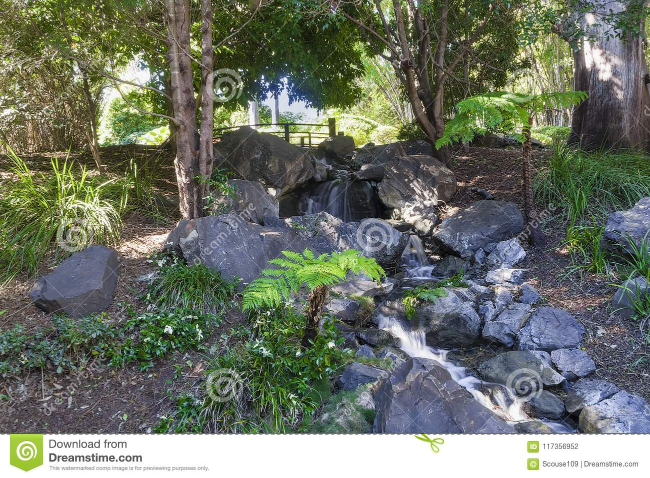 Japanese Garden In Shade Frm The Hot Sun Stock Photo Image Of