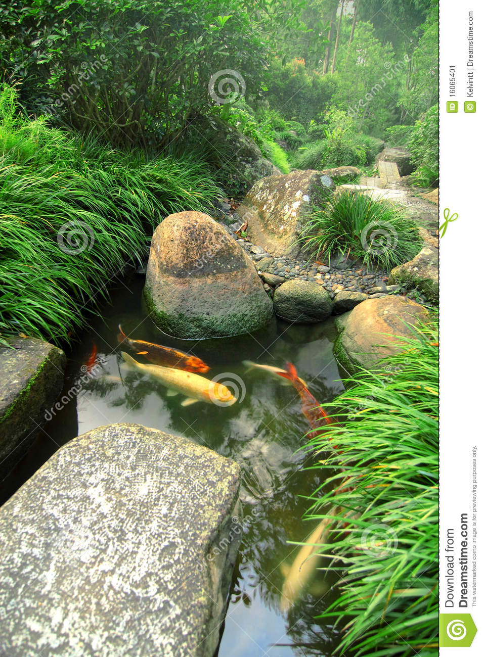 Japanese garden and koi pond stock image image 16065401 for Japanese koi water garden