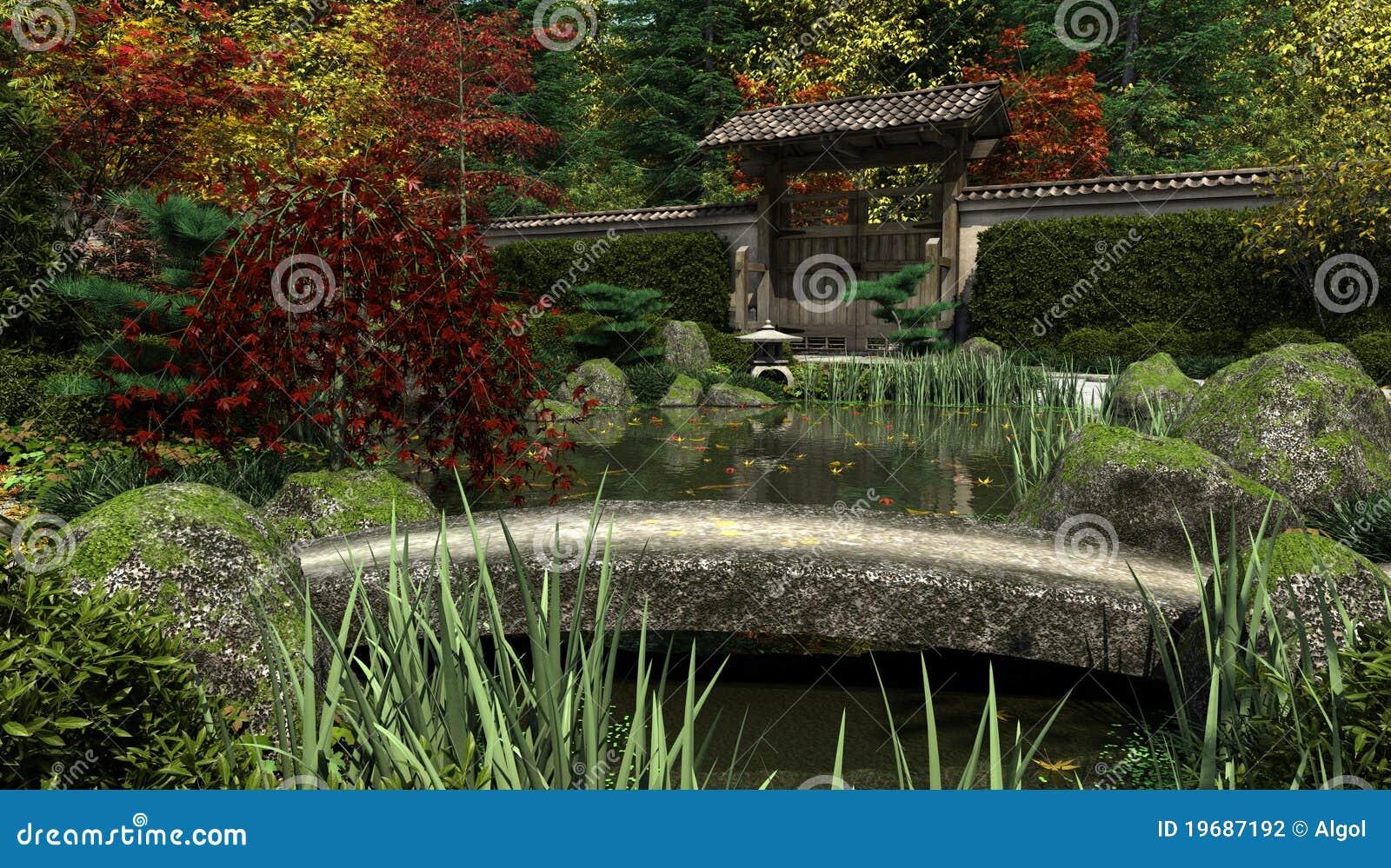 Japanese garden and koi pond autumn stock illustration for Japanese garden pond bridge