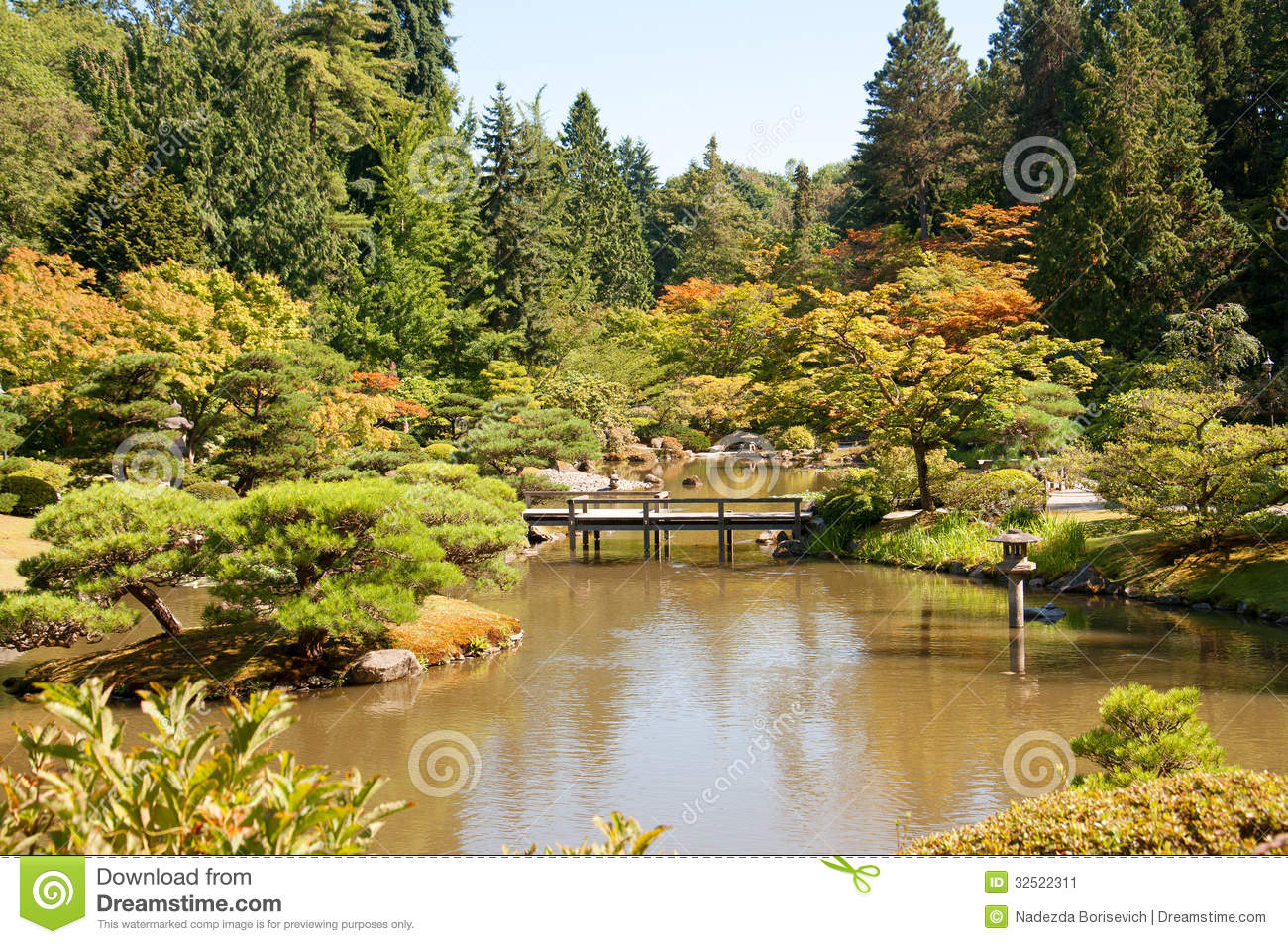 Japanese garden landscape with pond and bridge stock image for How to landscape a garden