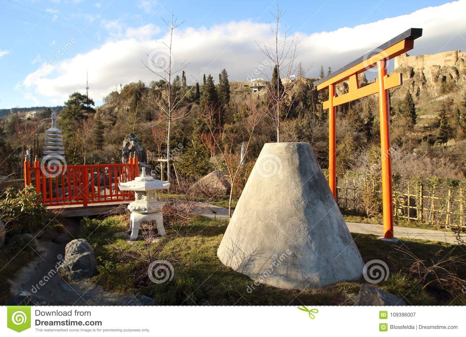 Japanese Garden In The Botanical Garden In Tbilisi City In Winter ...