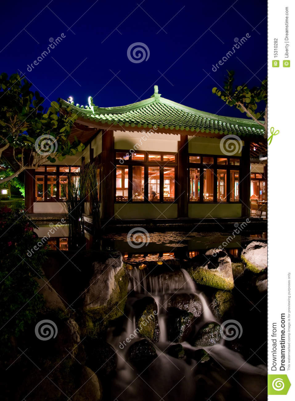 Japanese garden by night stock photo Image of lights 15310282