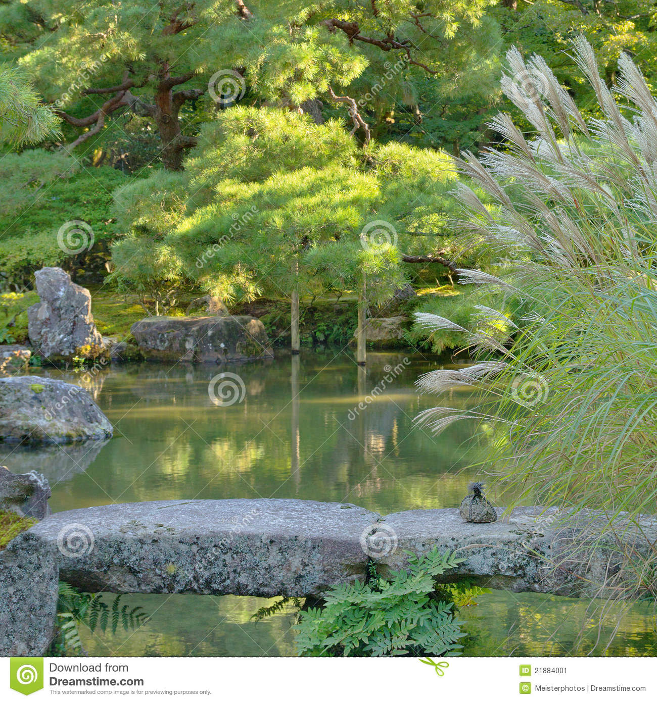 Japanese Garden Stone Bridge japanese garden with pond and stone bridge stock image - image