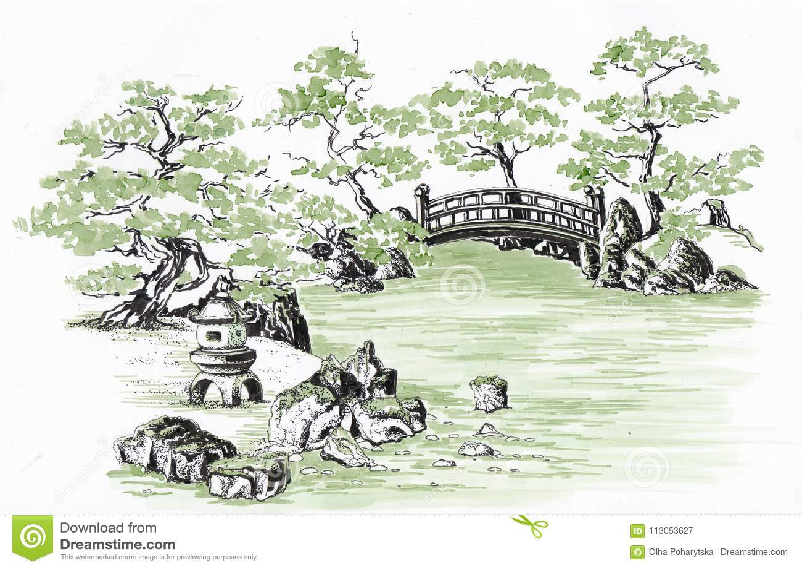 Download Japanese Garden Sketch Stock Illustration Of Nature