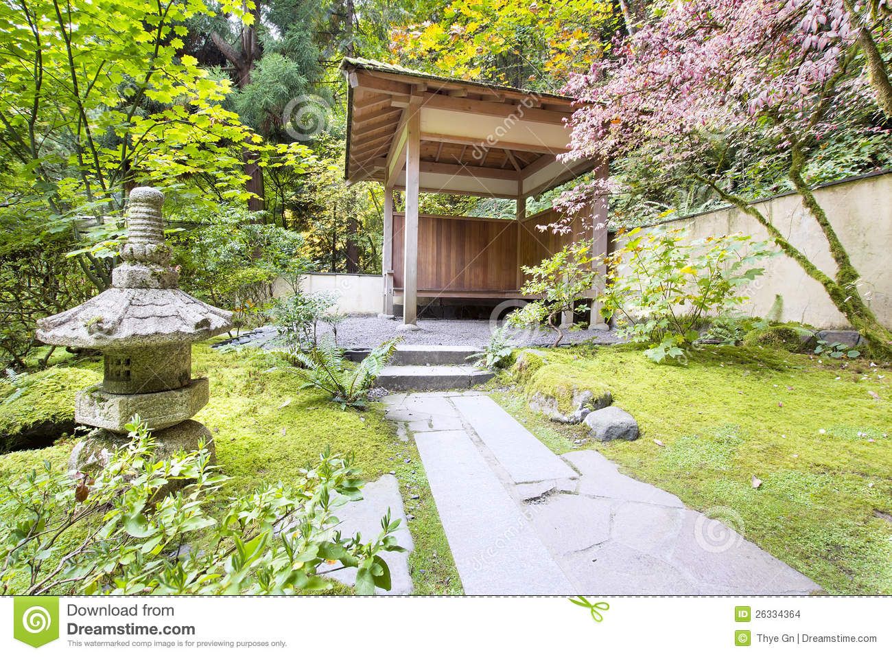 Japanese garden tea house with stone lantern stock photo for Japanese house garden
