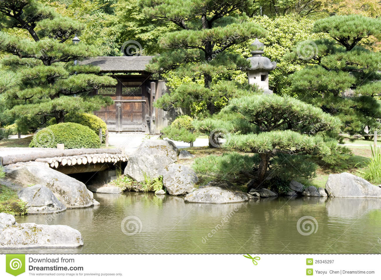 Japanese Garden With A Traditional Gate Royalty Free Stock