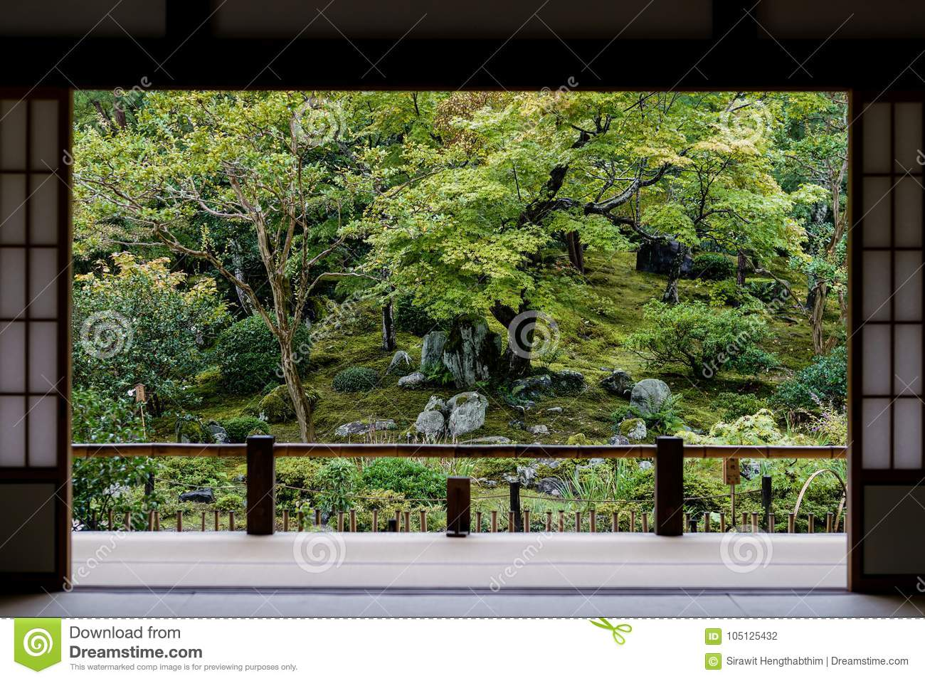 Download Japanese Garden View From Door Stock Photo - Image of natural, japanese: 105125432