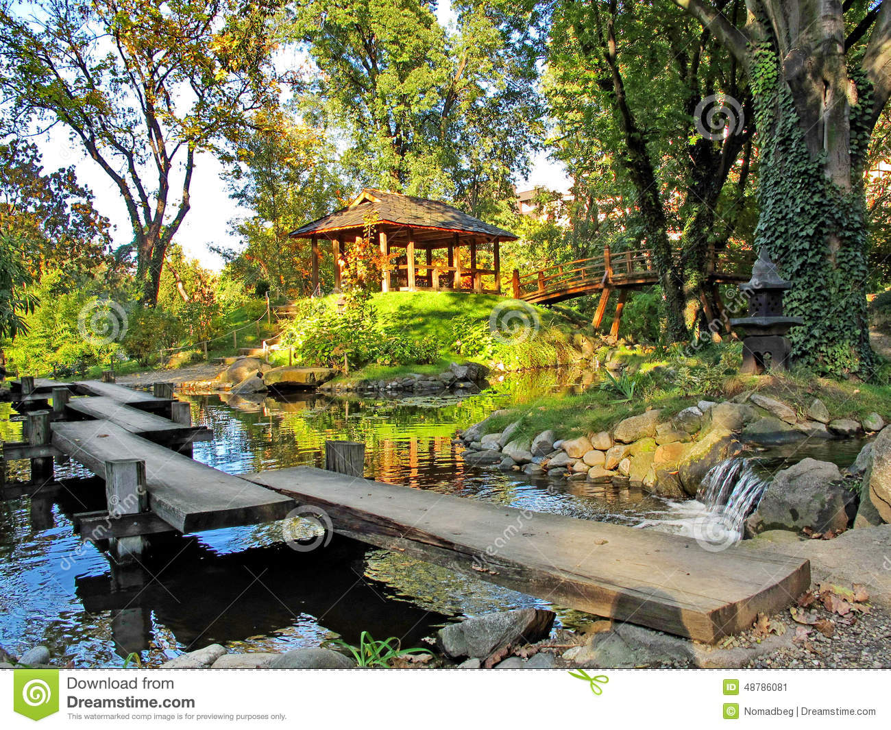 Japanese garden with a water pool pavilion and wooden for Japanese garden water
