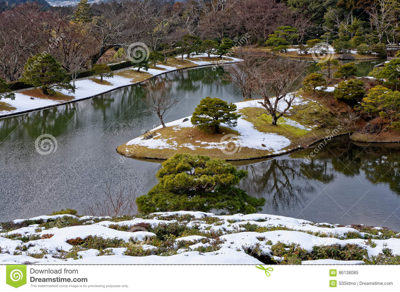 japanese garden in winter kyoto japan stock photo image 86138085