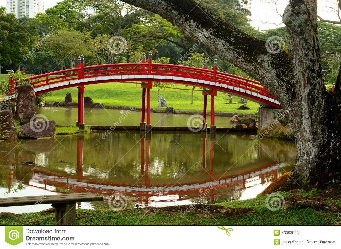 Japanese Style Garden Bridges Japanese Gardens Red Bridge And Reflection In Pond With Tree Stock