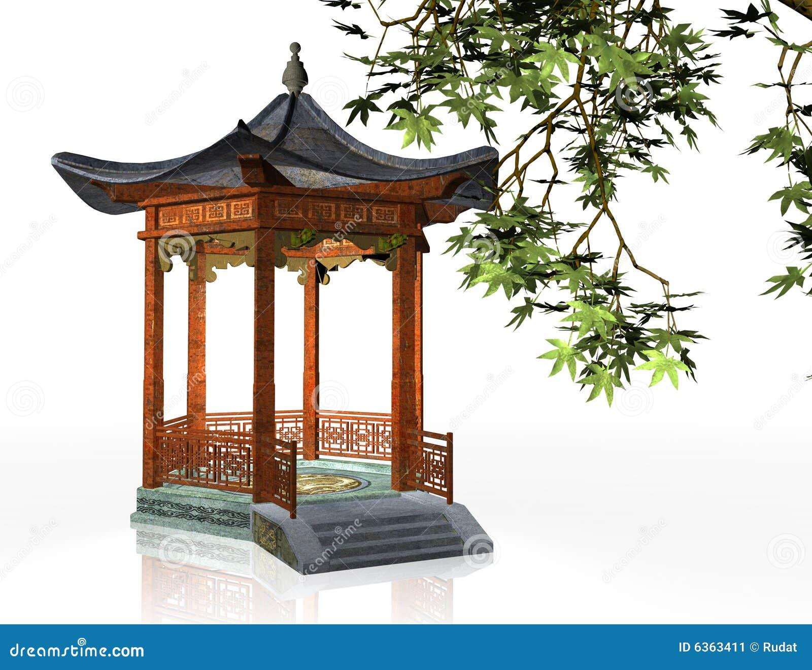 3d illustration of oriental pavilion on white background.