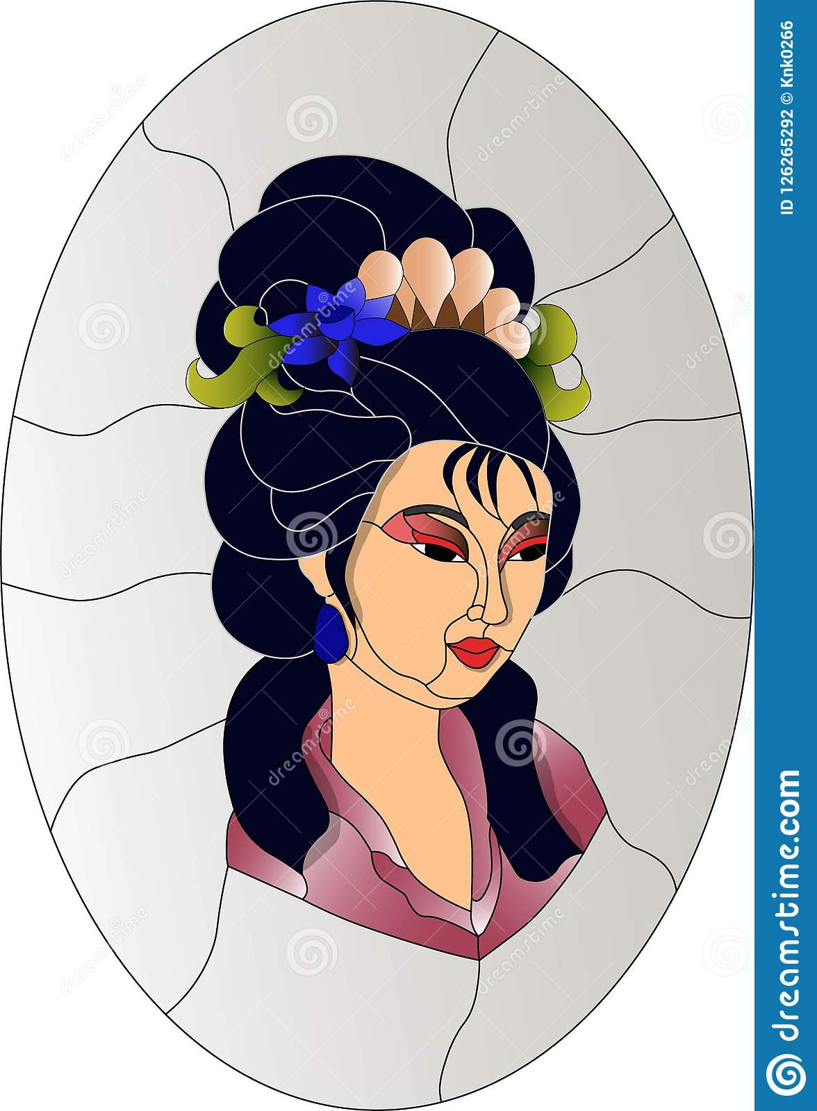 Japanese Geisha Girl Stained Glass Pattern Stock Vector