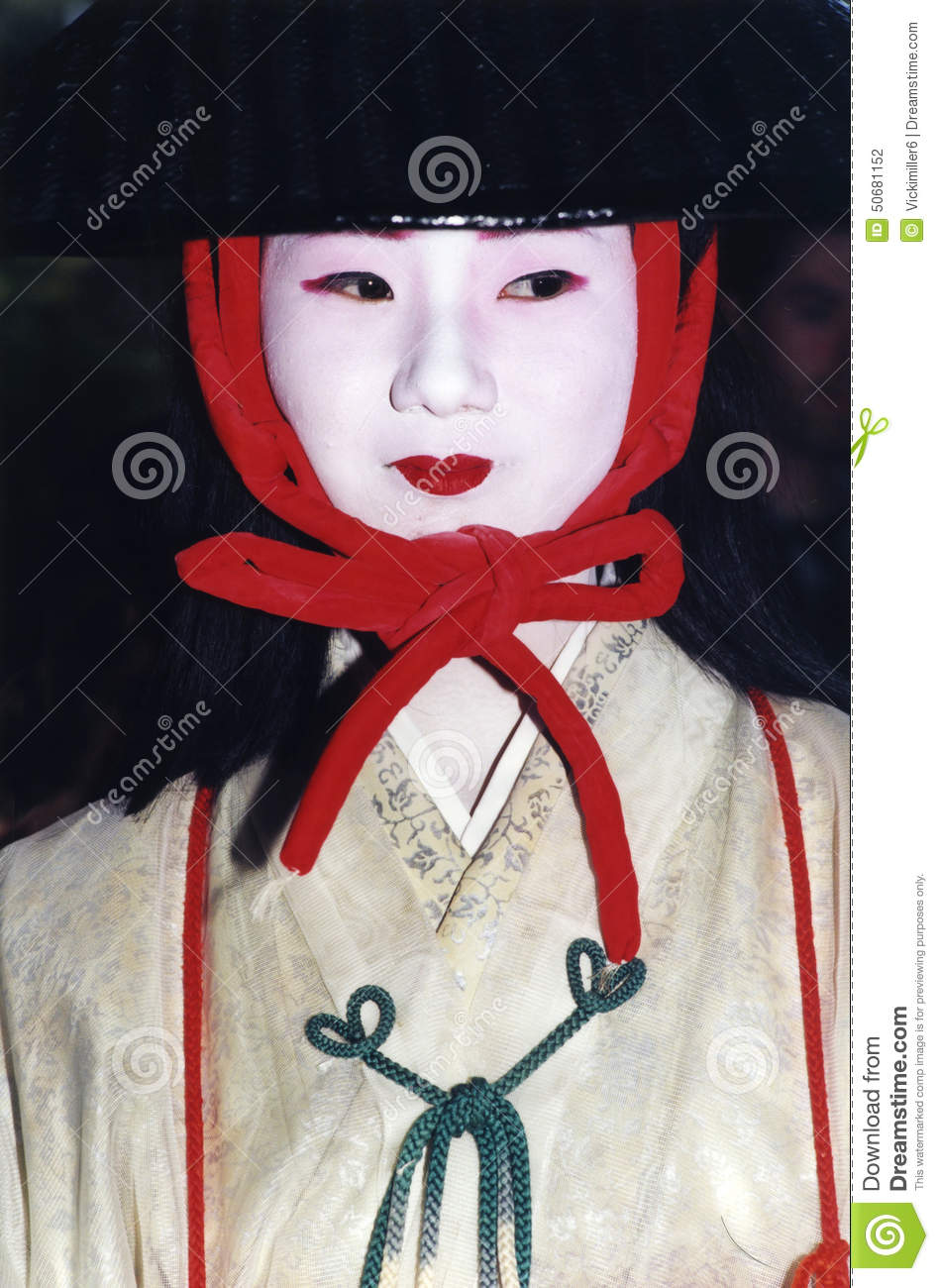 bbe79f9316 Japanese woman in costume and makeup for the Jidai Matsuri festival in  Kyoto Japan