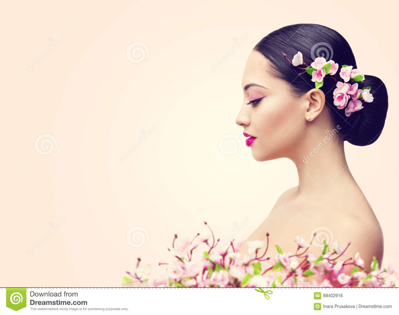 Japanese Girl and Flowers, Asian Woman Beauty Makeup Profile