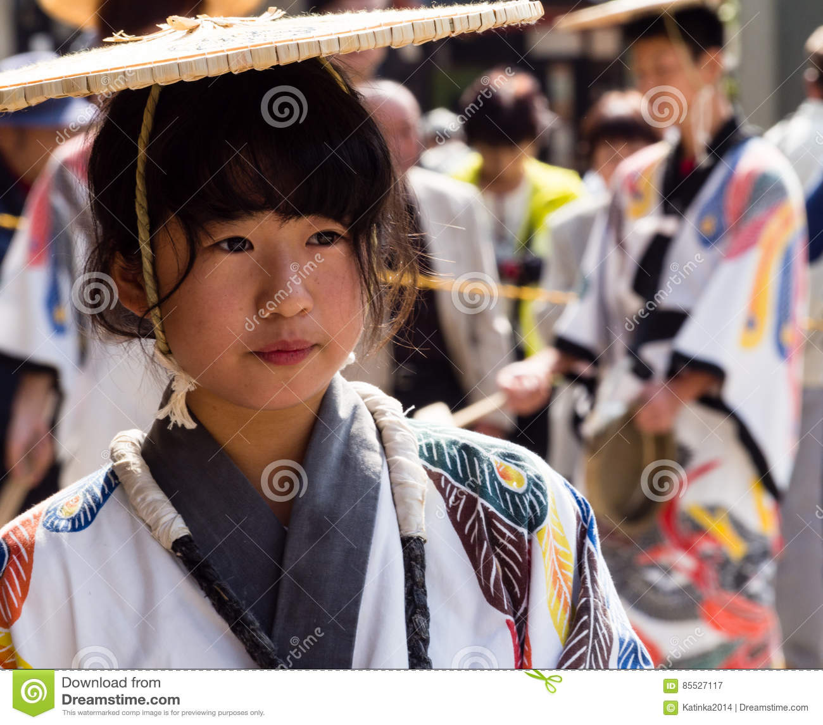 Japanese girl in traditional clothing at Takayama festival
