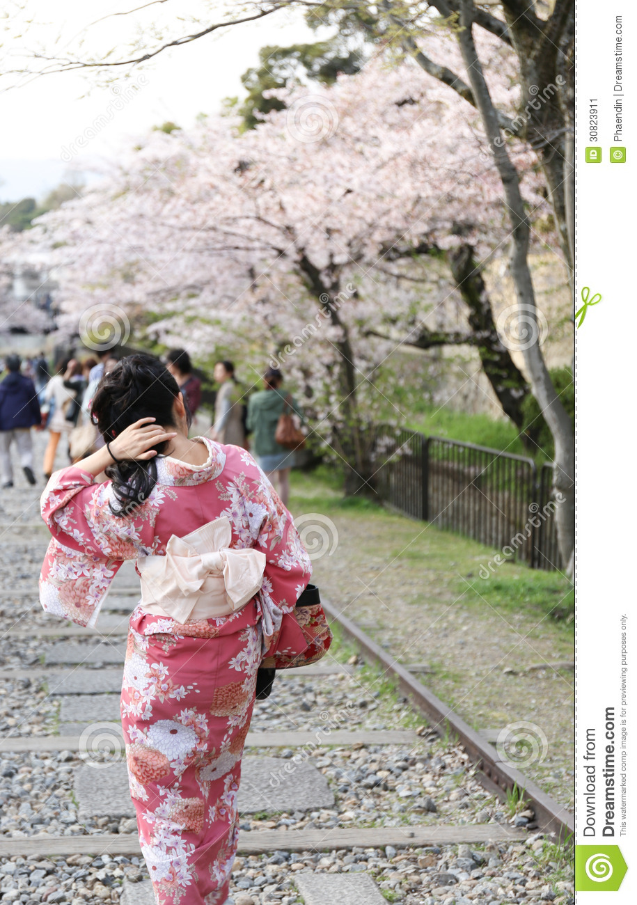 Japanese Girl In Traditional Dress Called Kimono Stock