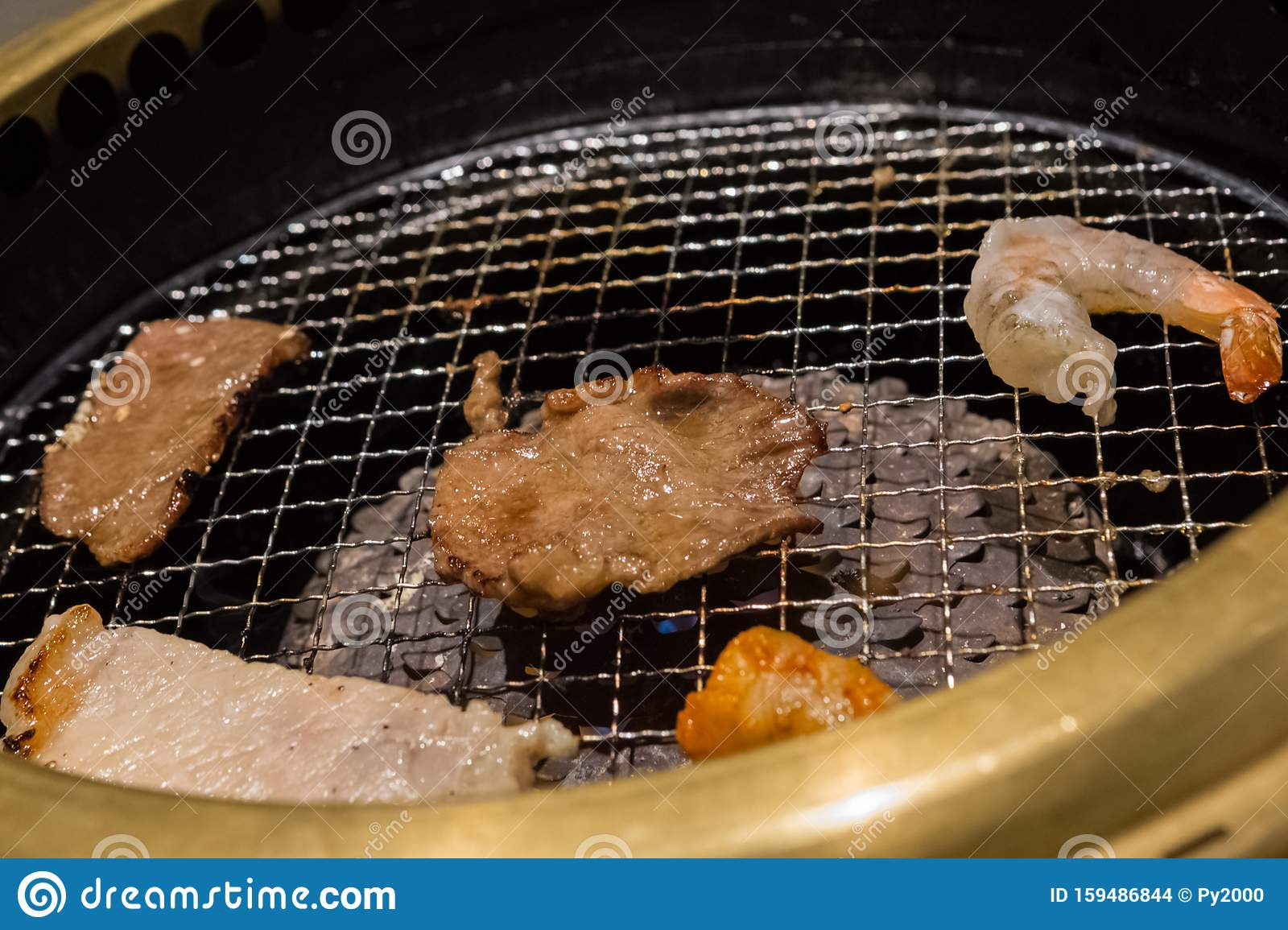 Japanese Grill Barbecue With Meat And Shrimp Stock Photo Image Of Restaurant Cooked 159486844