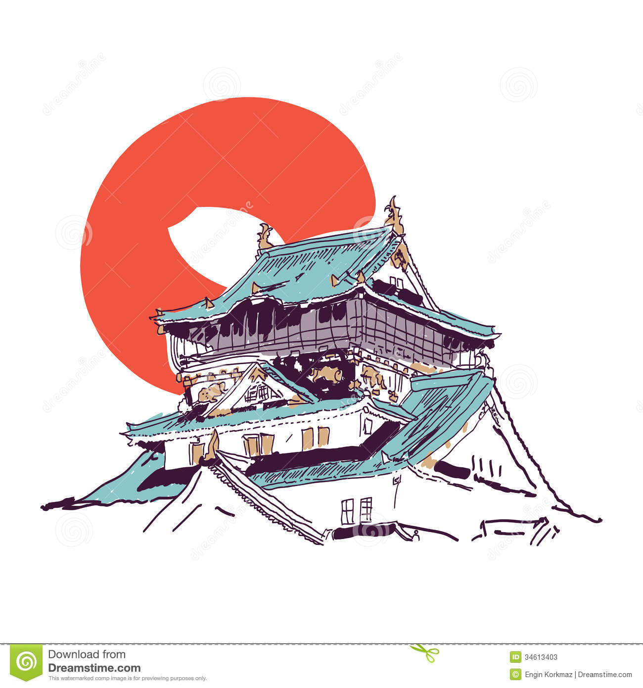 Japanese House Drawing Stock Photos Image - Japan map sketch