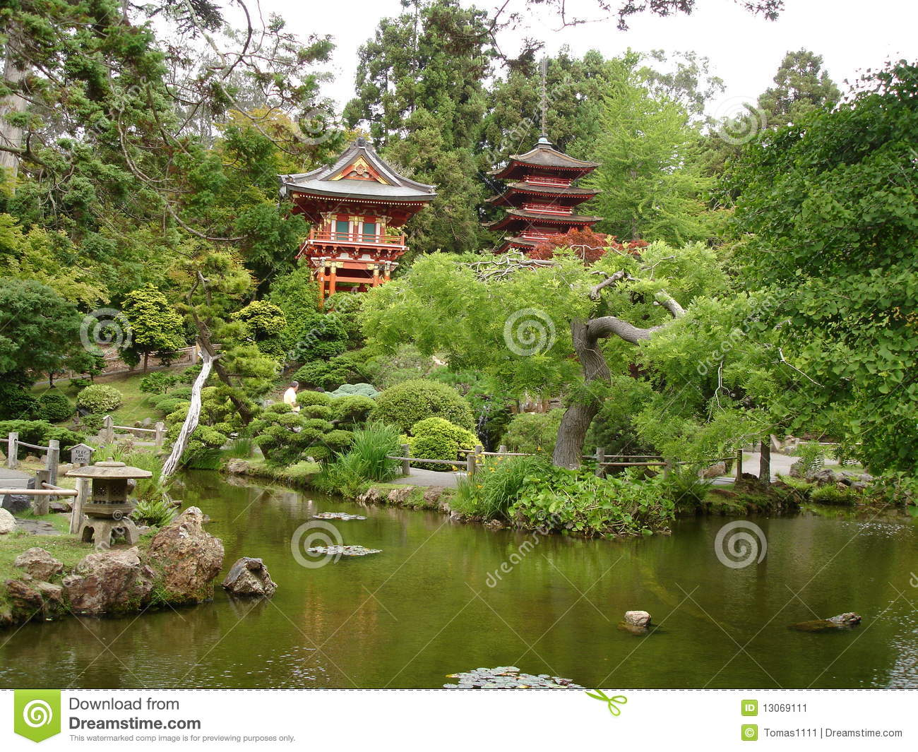 Japanese house and garden with lake stock image image for Japanese house garden