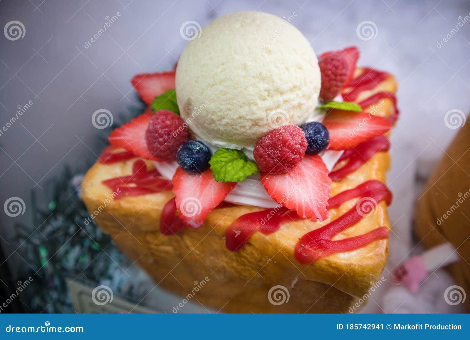 Japanese Ice Cream Bread As Street Food In Osaka Stock Image Image Of Dish Health 185742941