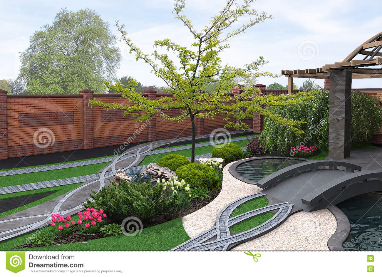 Download Japanese Inspired Garden, 3d Render Stock Illustration    Illustration Of Alcove, Berberis: