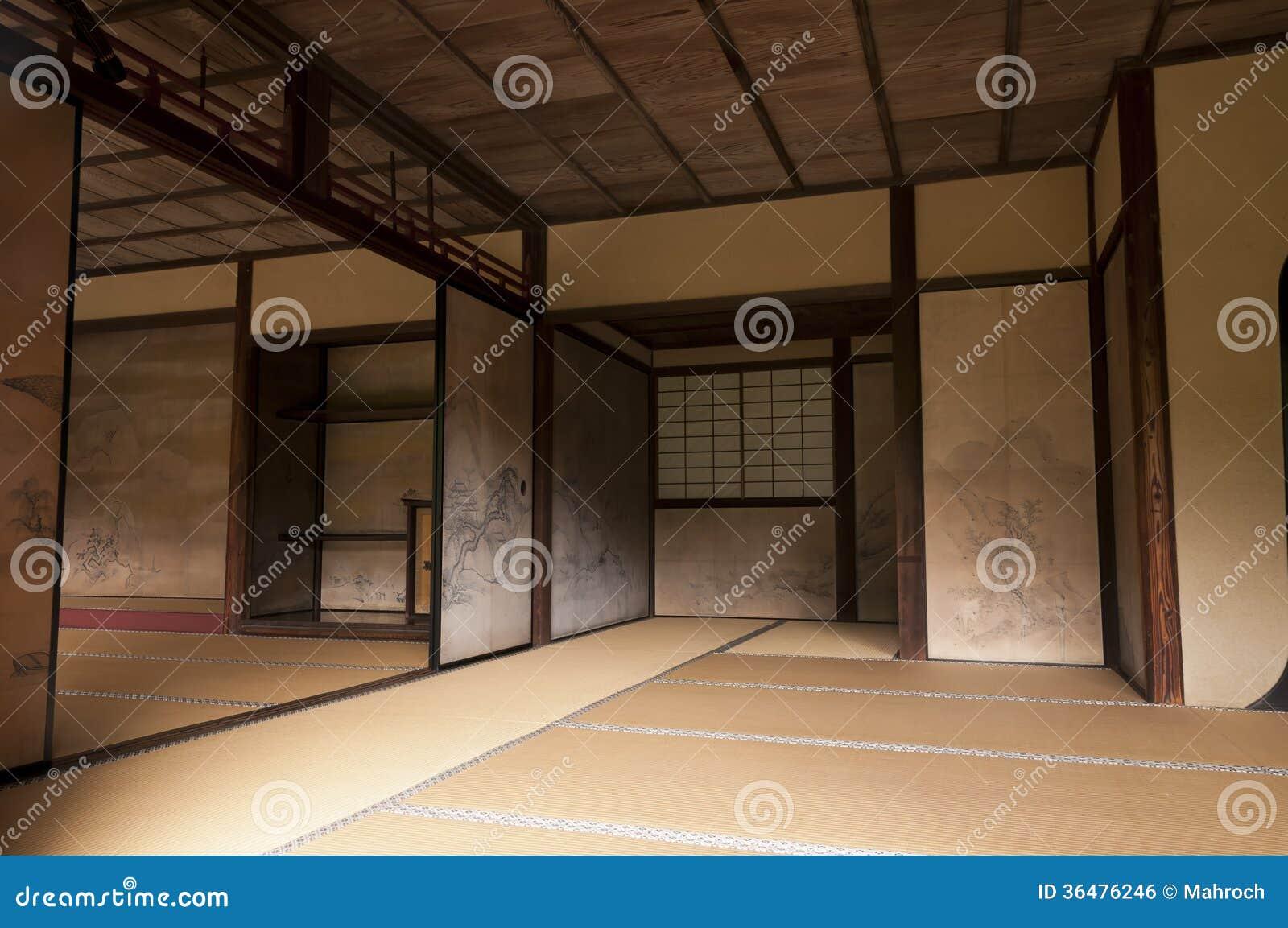 japanese interior house walls decorated by tanyu kano royalty free