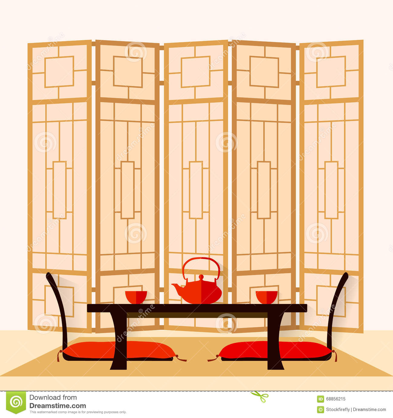 Japanese interior vector stock vector image 68856215 for Drawing room interior for flats