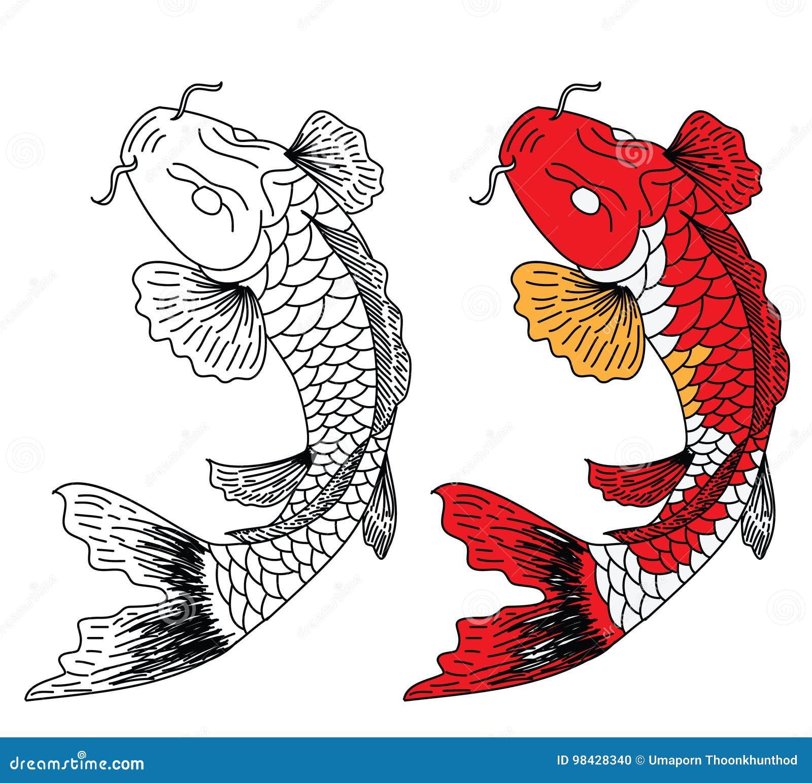 Japanese Koifish Tattoo Design Vector Stock Vector - Illustration of ...