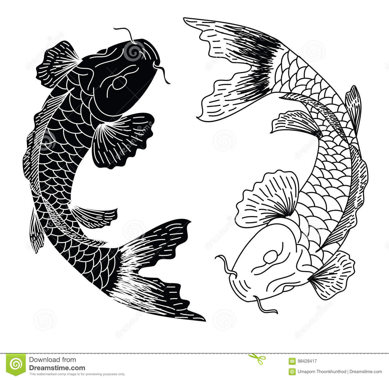 Japanese Koifish Tattoo Design Vector Stock Vector Illustration Of