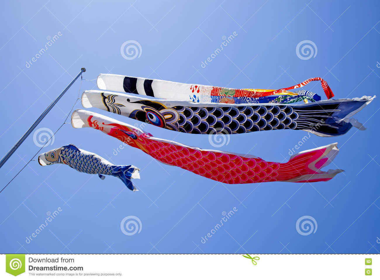 Japanese carp flag and wave background vecto cartoon for Koi fish kite