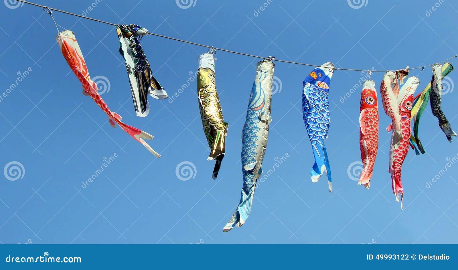 Japanese koinobori flags for children 39 s day stock photo for Japanese fish flag