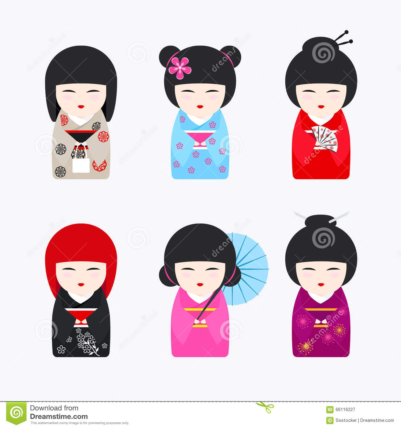 Japanese Kokeshi Dolls Icons Stock Vector Image 66116227