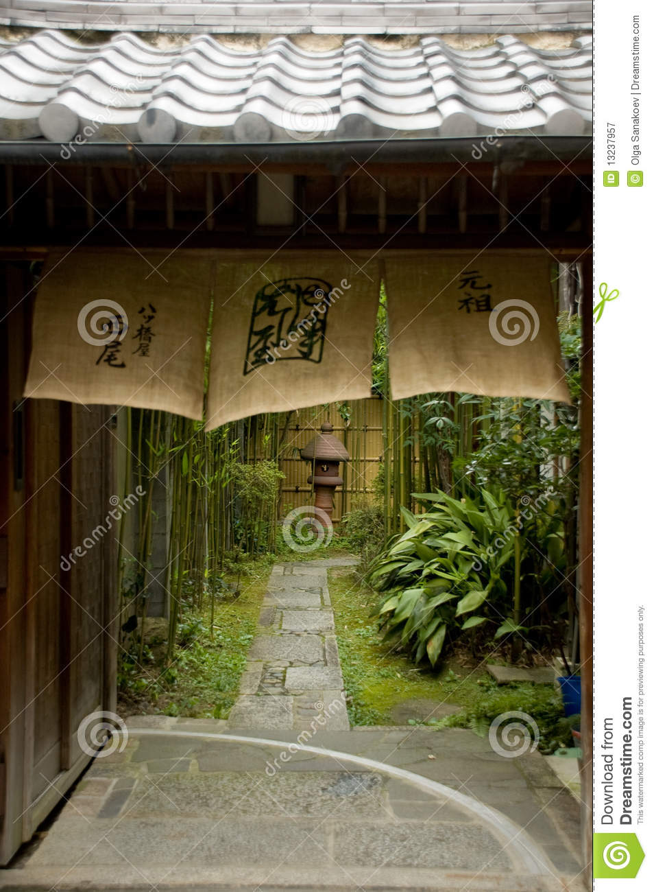 Japanese Kyoto Alley And Courtyard Stock Image Image