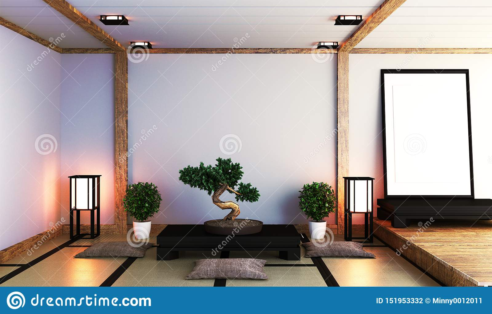 Japanese Living Room With Lamp, Frame, Black Low Table And ...