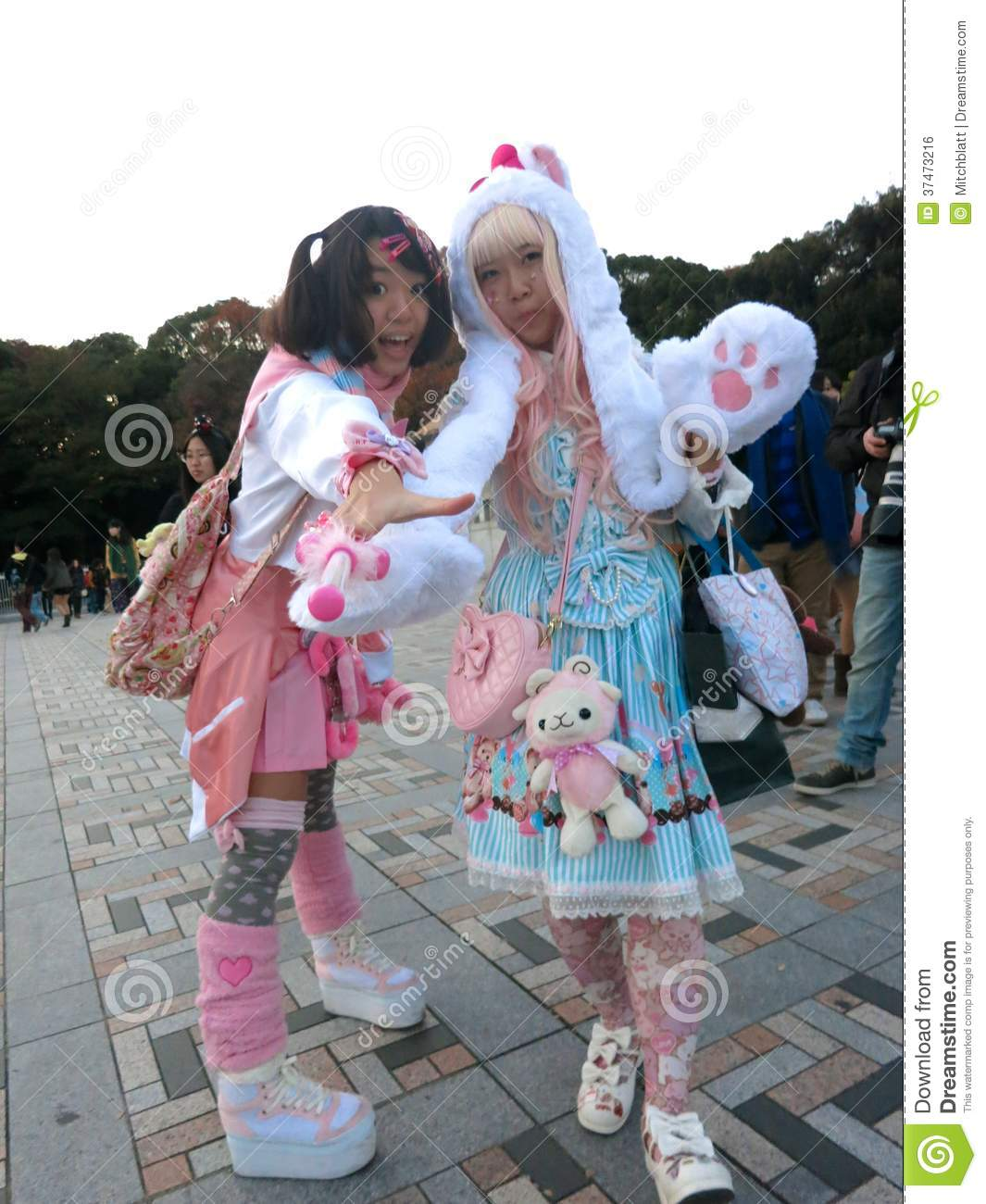 Japanese Lolita Fashion Girls Cosplaying In The Park Editorial ...