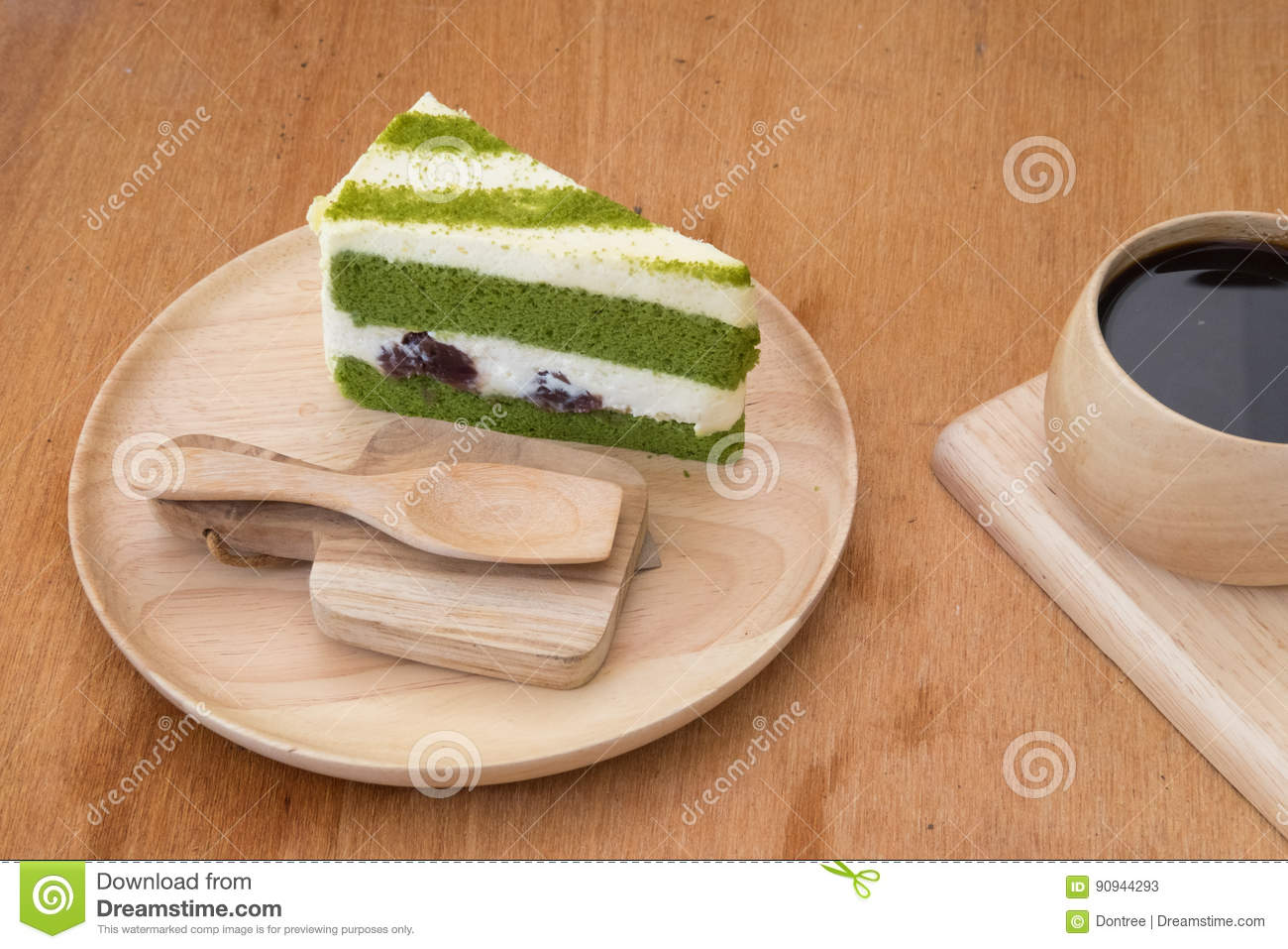 Japanese Matcha Green Tea Cake And Cream Stock Image Image Of