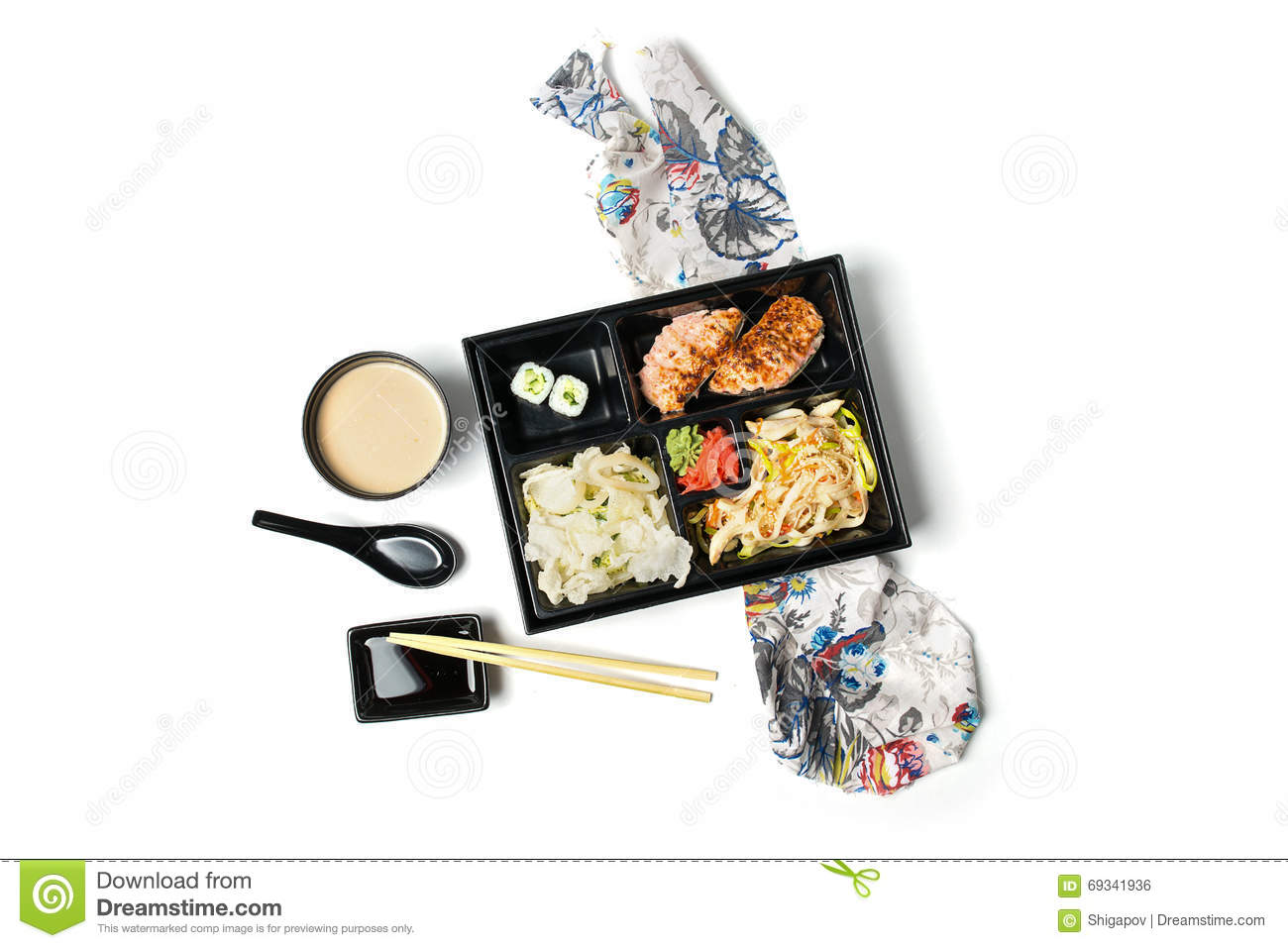 Food 1 2016 6 8 Sushi Roll Bowl >> Japanese Meal In A Box Bento On White Background Stock ...