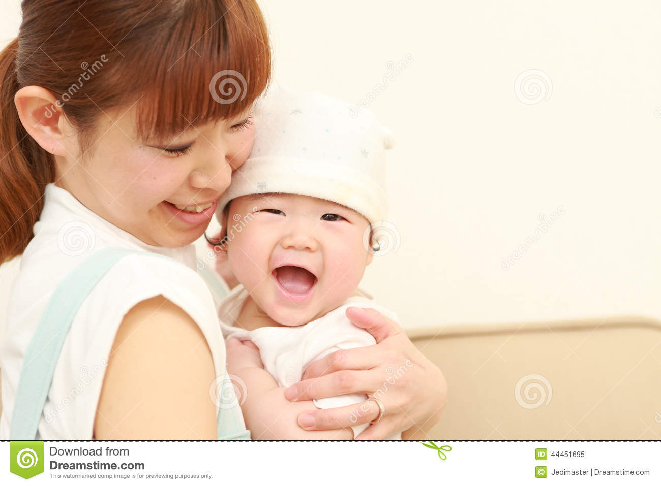 japanese mom and her baby stock image image of home