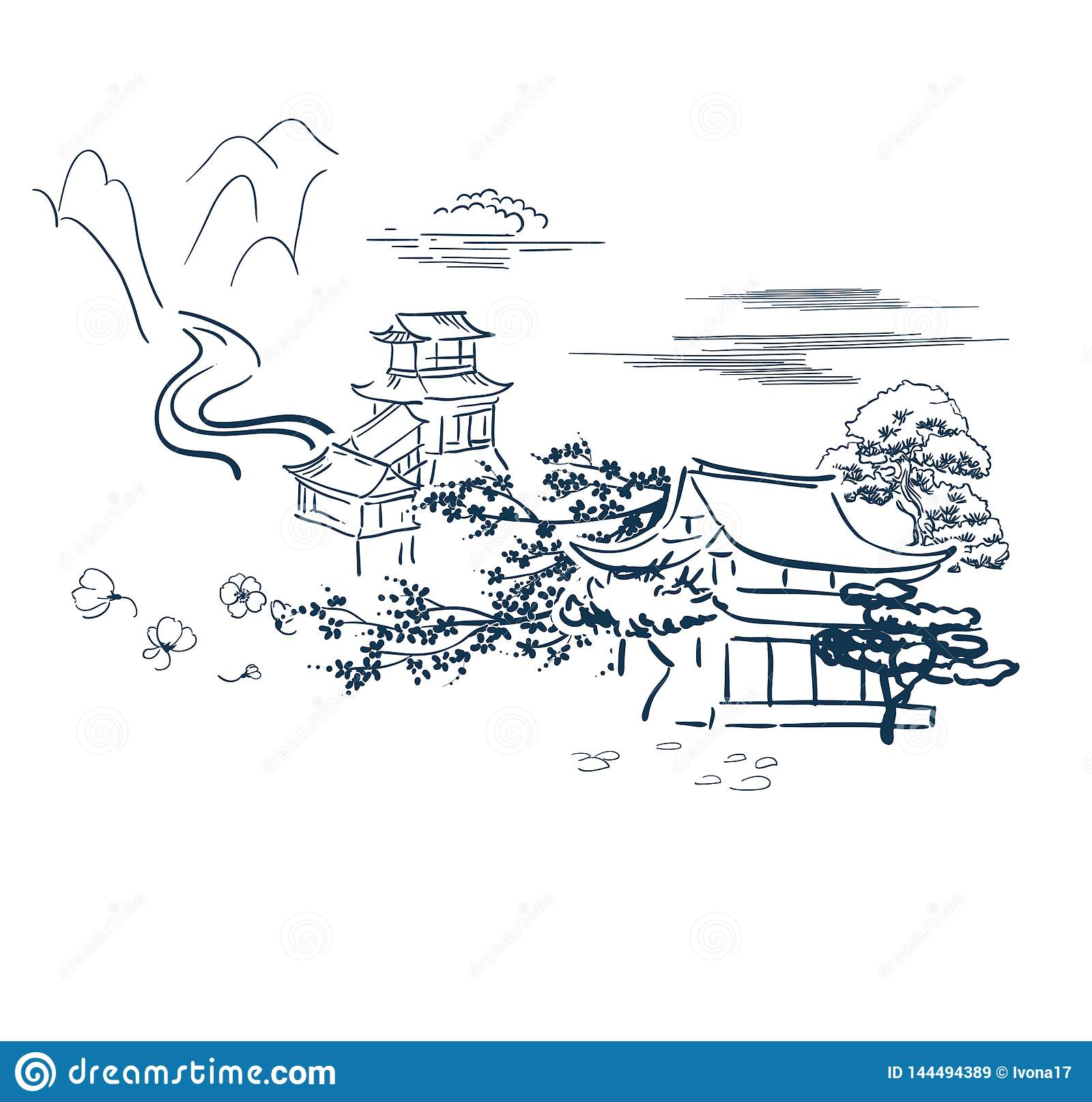 Japanese motive symbols vector sketch card temple traditional