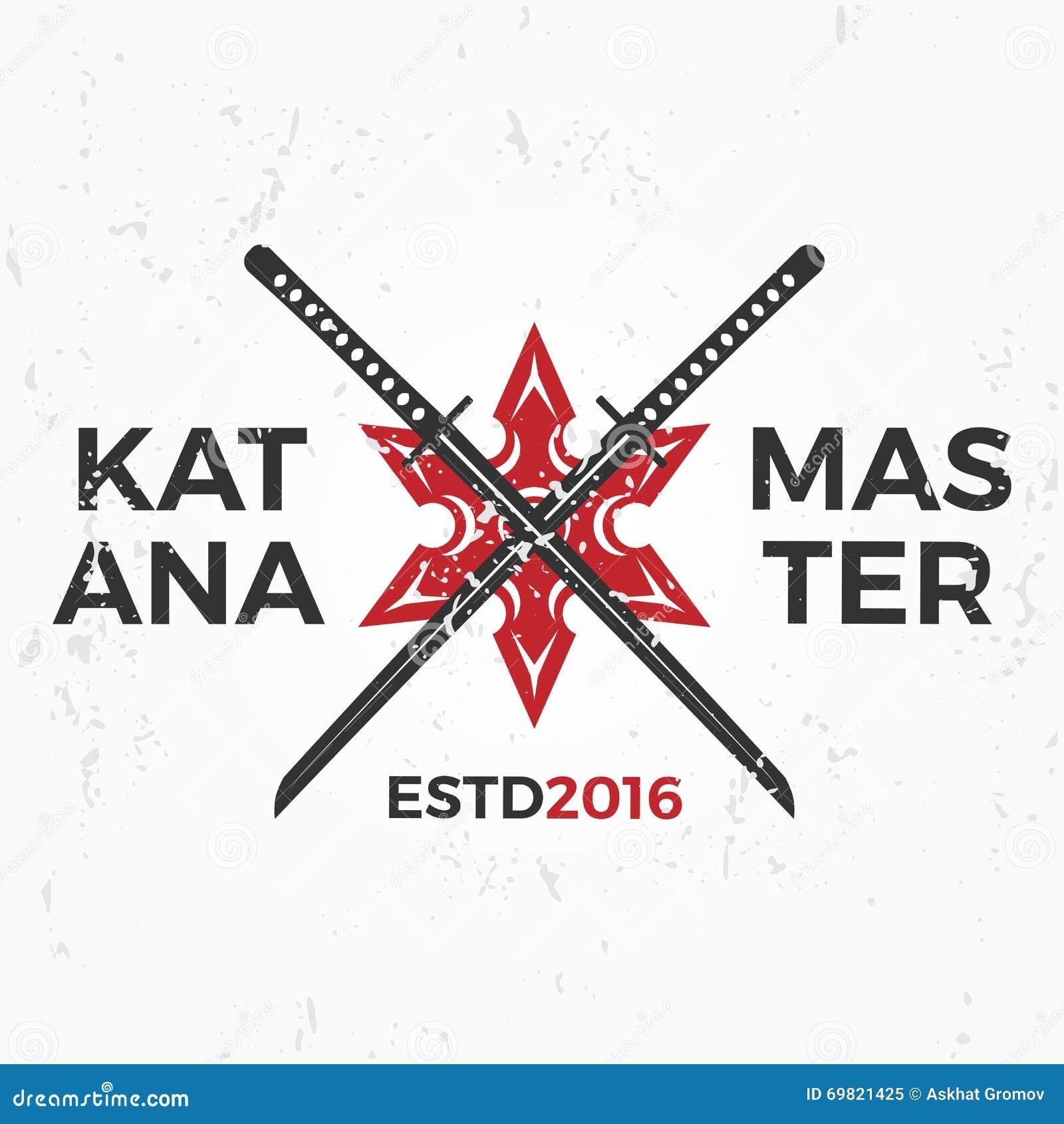 Design shirt japan - Japanese Ninja Logo Katana Master Insignia Design Vintage Ninja Mascot Badge Martial Art