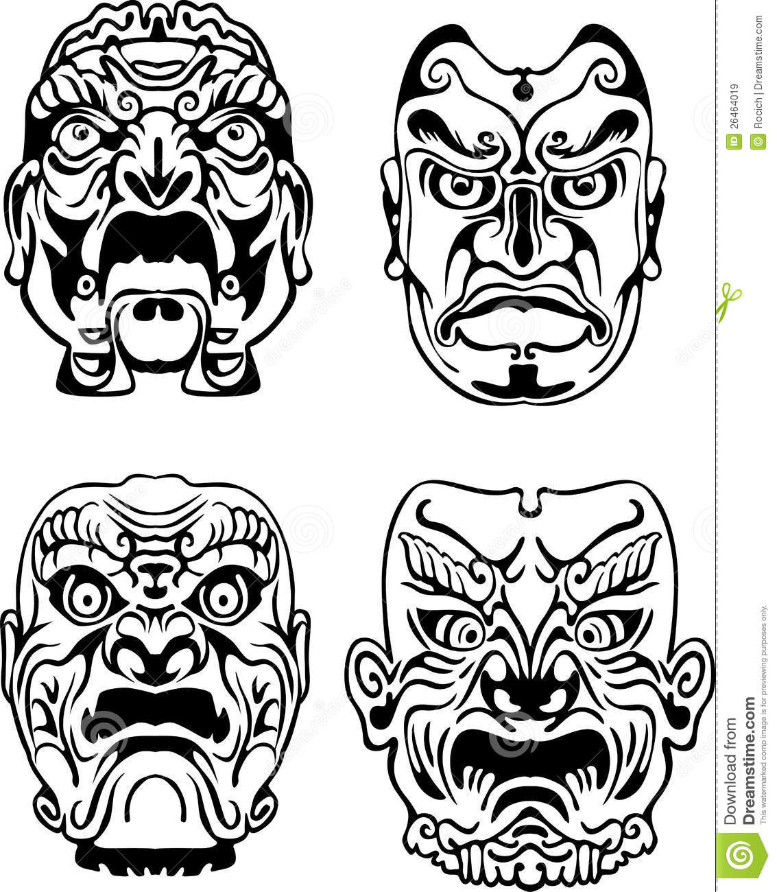 kabuki mask template - japanese noh theatrical masks royalty free stock images