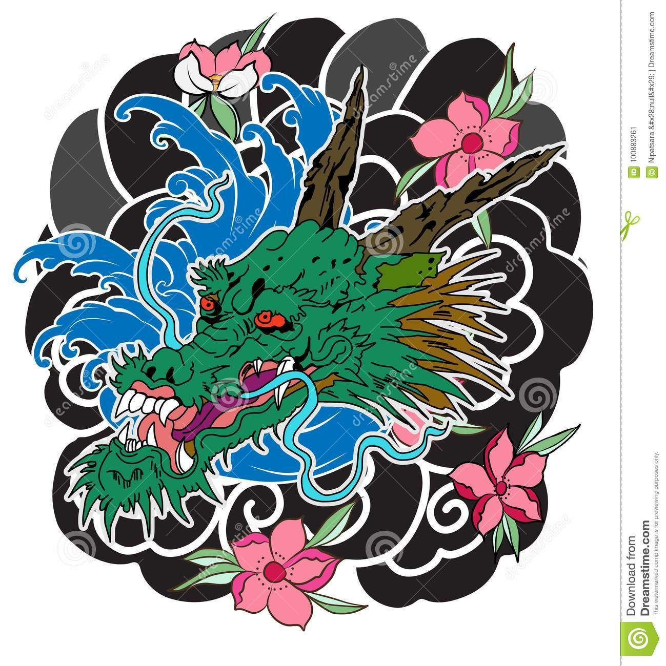 Japanese Old Dragon Tattoo For Arm Stock Vector Illustration Of