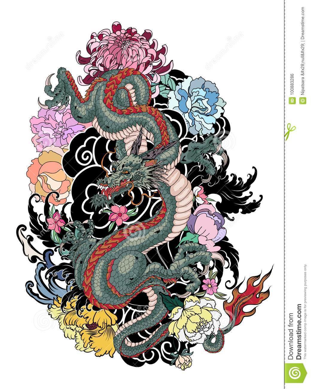 Japanese old dragon tattoo for arm stock vector illustration of japanese old dragon tattoo for arm coloring design izmirmasajfo Images