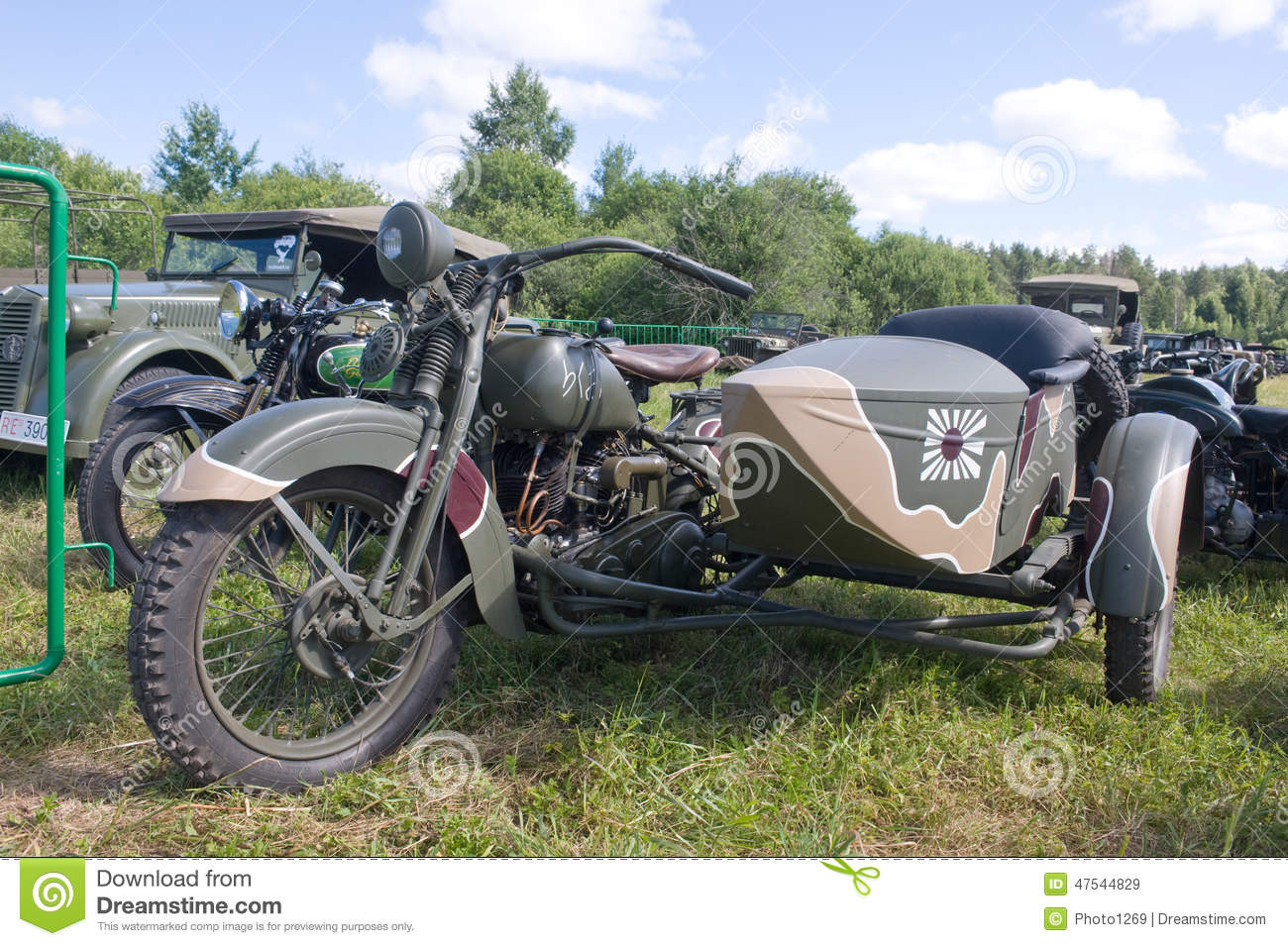 Japanese Old Military Rikuo Motorcycle Type 97 A Copy Of